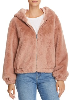 FRENCH CONNECTION Arabella Faux-Fur Hooded Bomber Jacket