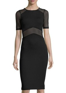 French Connection Arrow Mesh-Panel Sheath Dress