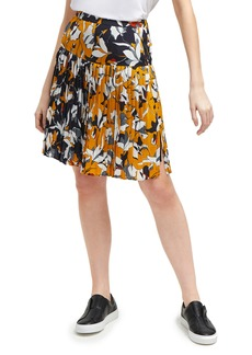 French Connection Aventine Reverse Pattern Pleated Skirt