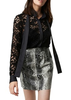 French Connection Baen Lace Tie Neck Top