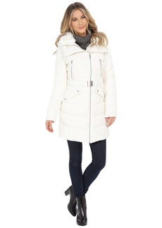 French Connection Belted Puffer Coat w/ Fur & Inside Bib
