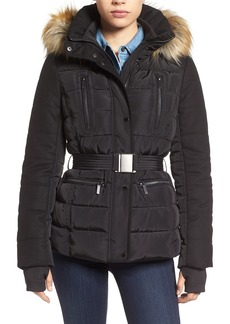 French Connection Belted Quilted Jacket with Faux Fur Trim