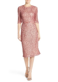 French Connection Belted Sequin Mesh Midi Dress
