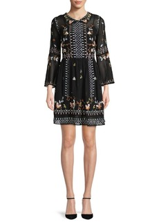 French Connection Bijou Embroidered Fit-&-Flare Dress