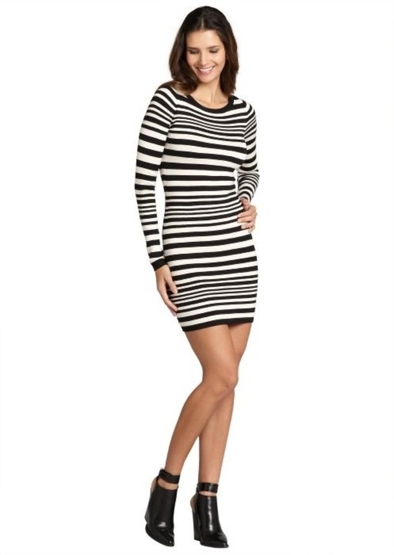 French Connection black and cream 'Marissa' stripe bambi boatneck sweater dress