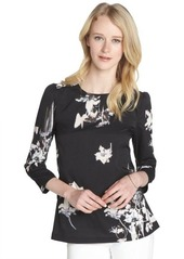French Connection black and white watercolor floral print long sleeve blouse