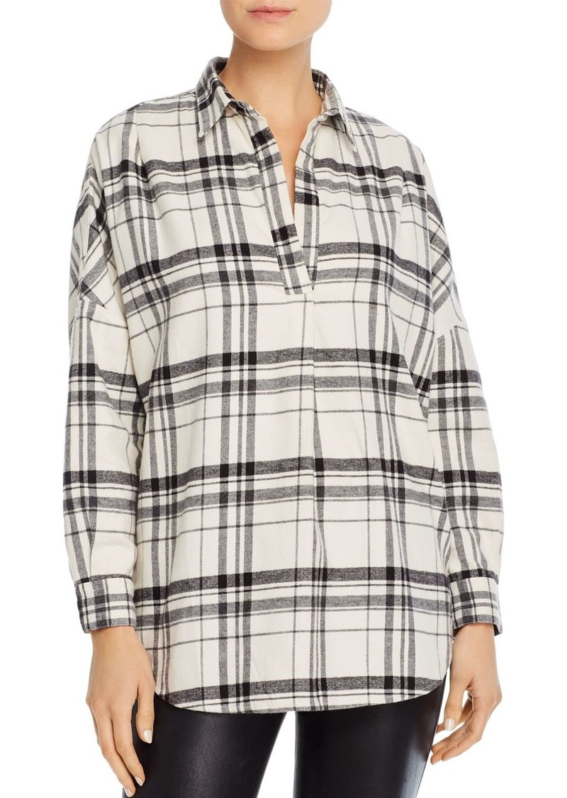 FRENCH CONNECTION Brushed Rhodes Plaid Flannel Top