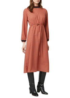 French Connection Caprice Drape Long Sleeve Midi Dress