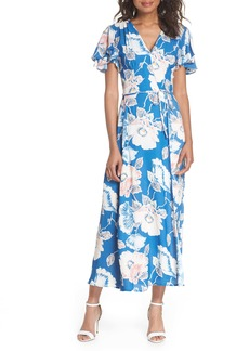 French Connection Cari Floral Flounce Sleeve Crepe Maxi Dress