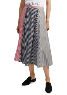 French Connection Carolie Striped Colorblock Pleated Midi Skirt