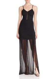 French Connection Chantilly Bow Sheer Paneled Maxi Dress