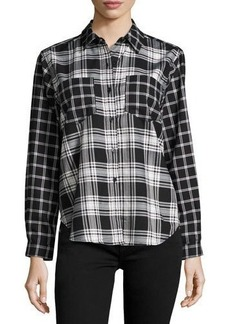 French Connection Check-Print Button-Up Blouse