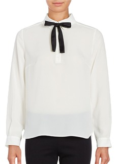 FRENCH CONNECTION Chiffon Bow-Tie Blouse