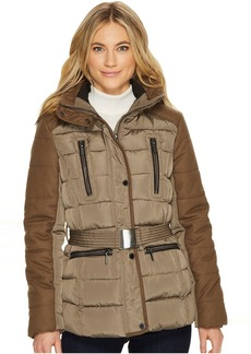 French Connection Cinched Waist Puffer with Faux Fur Hood