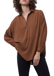 French Connection Clar Rhodes Textured Drape Split Neck Shirt