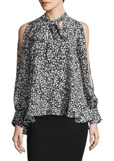 French Connection Cold-Shoulder Floral Blouse