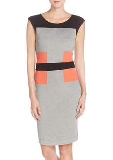 French Connection Colorblock Ponte Knit Sheath Dress