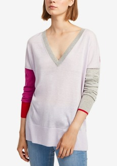 French Connection Colorblocked V-Neck Sweater