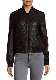 French Connection Diamond Quilted Bomber Jacket
