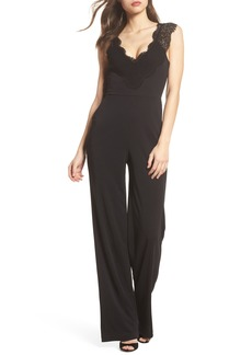 French Connection Dominica Lace Trim Jumpsuit