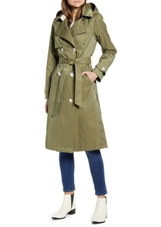 French Connection Double Breasted Hooded Trench Coat