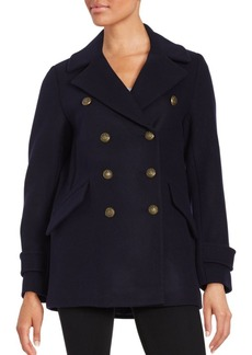 French Connection Double-Breasted Wool-Blend Peacoat