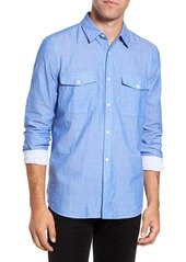 French Connection Double Chambray Regular Fit Cotton Sport Shirt