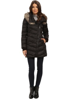 French Connection Drape Front Puffer Coat w/ Fur Trim