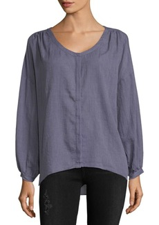 French Connection Drape Long-Sleeve Hi-Lo Button-Down Shirt