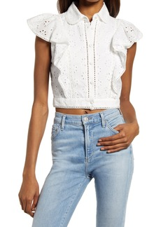 French Connection Duna Broderie Anglaise Ruffle Crop Top