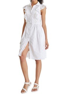 French Connection Duna Broderie Anglaise Ruffle Shirtdress