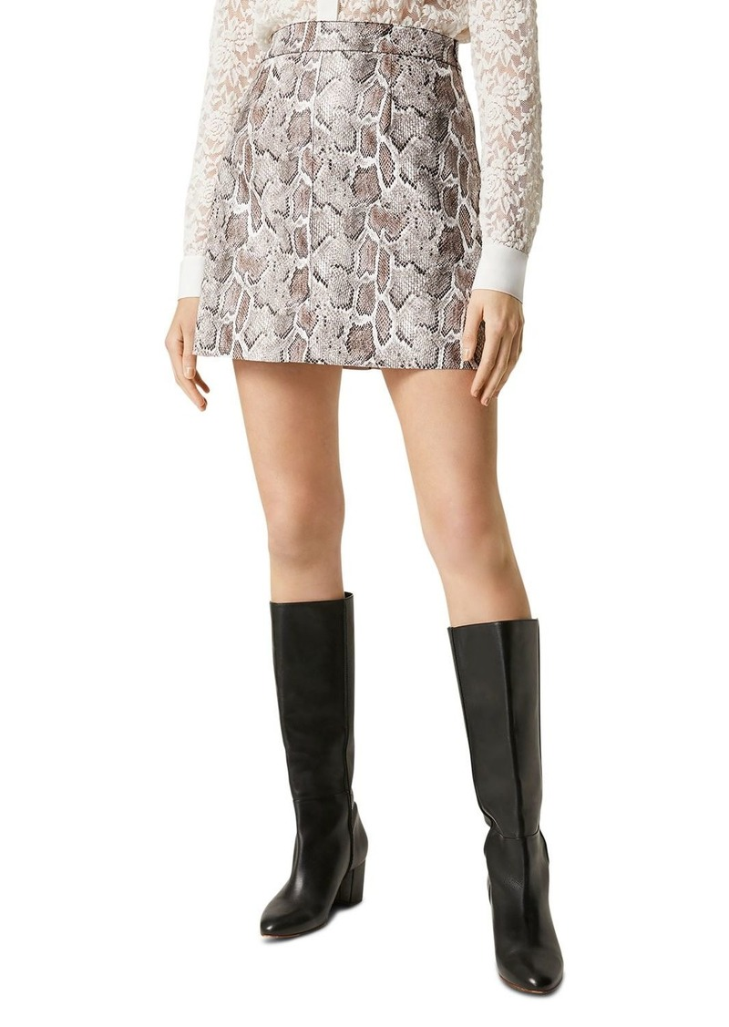 FRENCH CONNECTION Elias Faux-Leather Snakeskin-Pattern Skirt