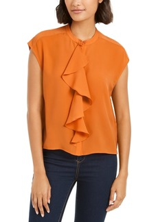 French Connection Elna Light Ruffled Button-Front Top