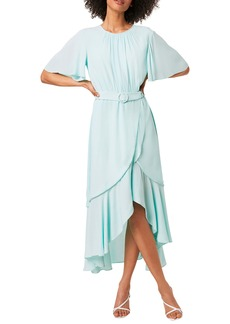 French Connection Emina Belted High/Low Midi Dress