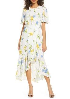 French Connection Emina Floral Asymmetrical Midi Dress