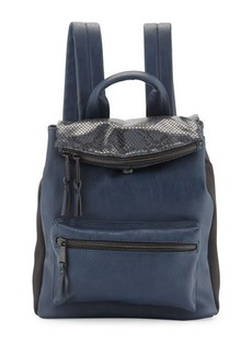 French Connection Emma Snake-Embossed Flap-Top Backpack