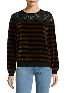 French Connection Emma Stripe Velvet Sweatshirt