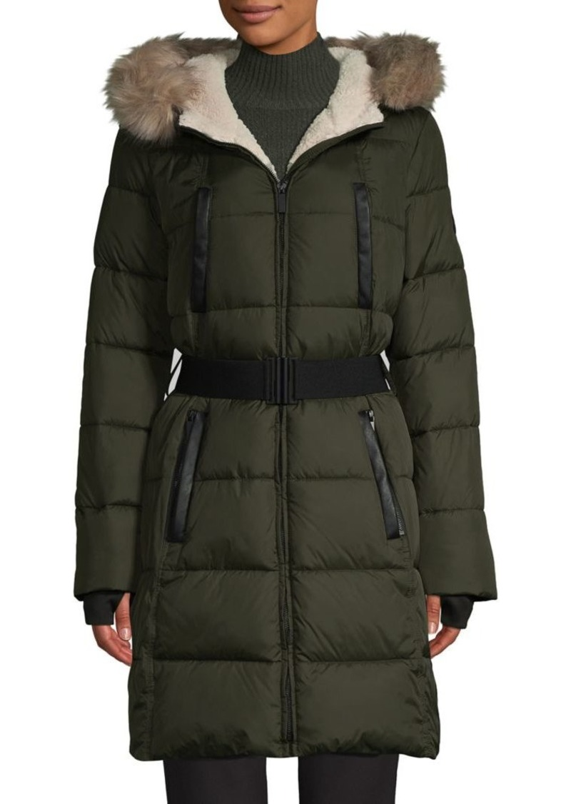 French Connection Faux Fur Belted Puffer Coat