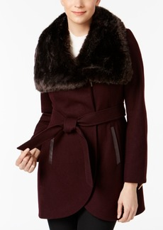French Connection Faux-Fur-Collar Asymmetrical Coat