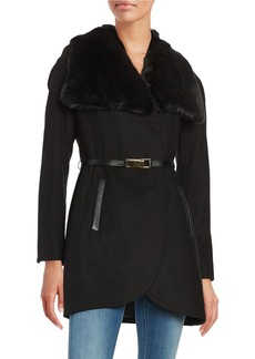 FRENCH CONNECTION Faux Fur Collar Leather Trimmed Coat