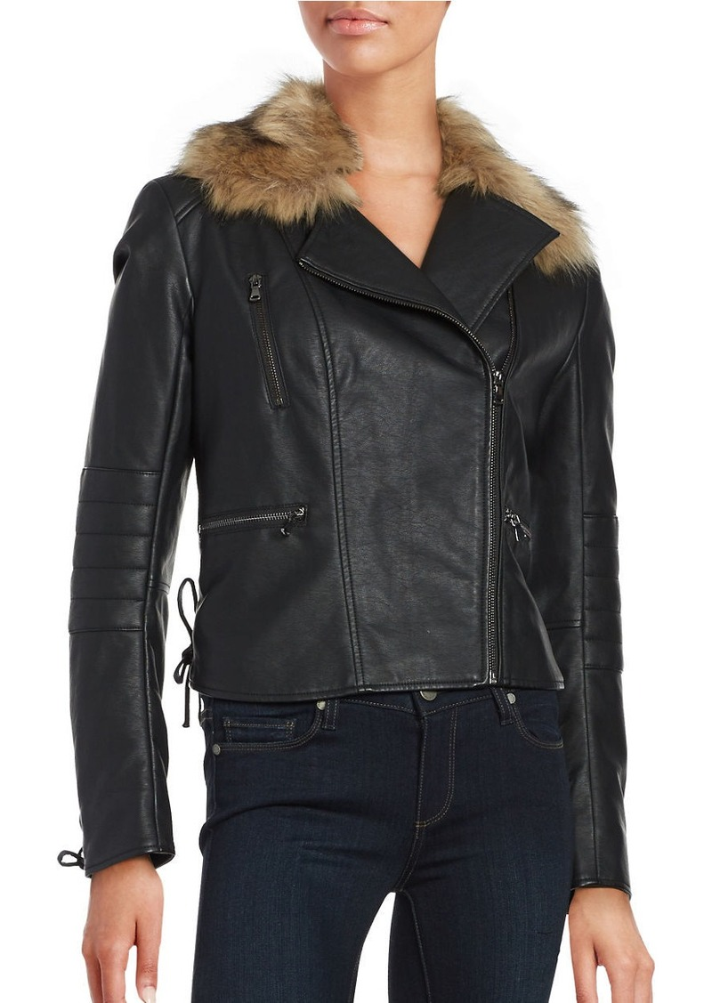 FRENCH CONNECTION Blackbird Faux Fur-Trimmed Leatherette Moto Jacket