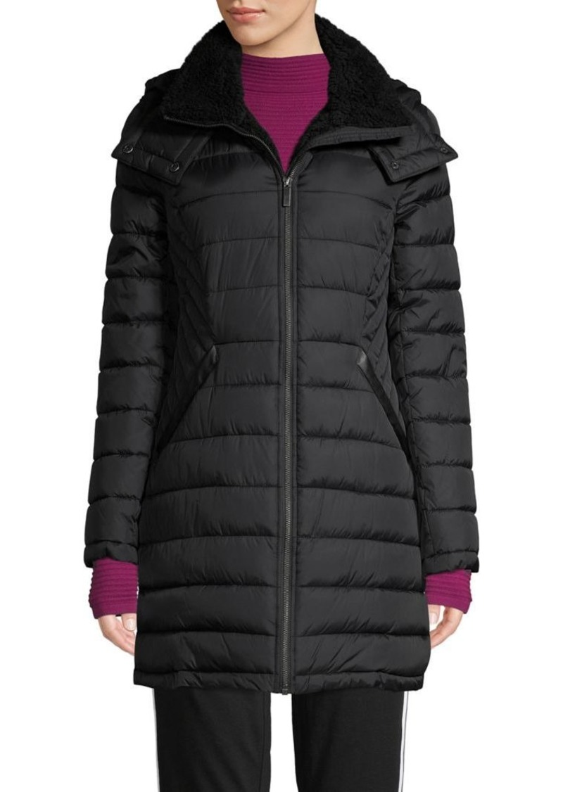 French Connection Faux Fur-Lined Hooded Puffer Coat