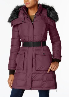 French Connection Faux-Fur-Trim Belted Coat, A Macy's Exclusive