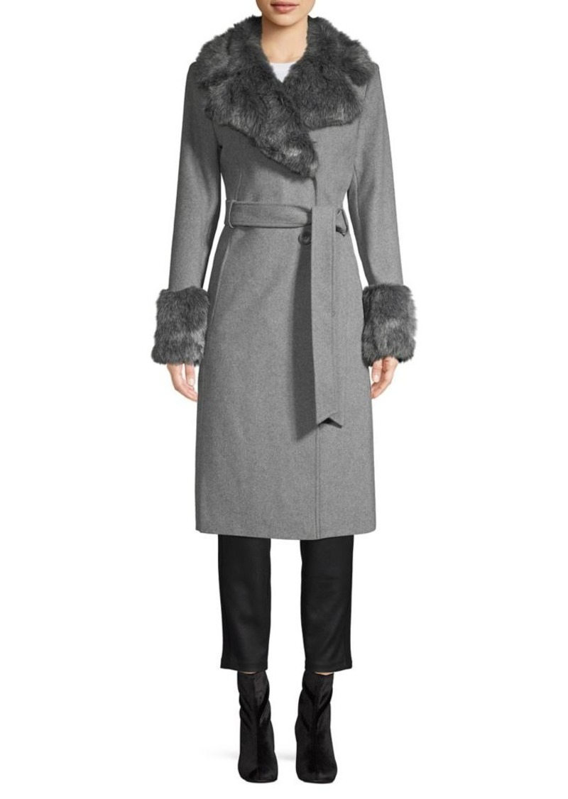 French Connection Faux Fur-Trim Belted Wool-Blend Long Coat