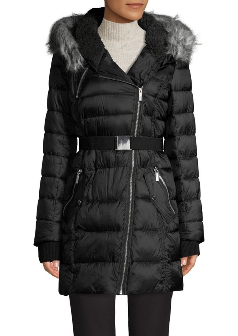French Connection Faux Fur-Trim Hooded Puffer Coat