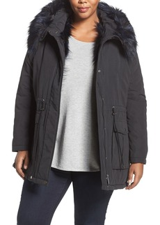 French Connection Faux Fur Trim Microfiber Anorak (Plus Size)