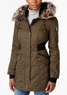French Connection Faux-Fur-Trim Mixed-Media Parka