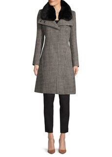 French Connection Faux Fur-Trim Textured Coat