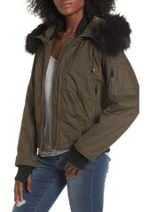 French Connection Faux Fur Trim Wax Cotton Bomber Jacket
