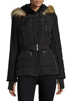 French Connection Faux Fur-Trimmed Belted Puffer Coat